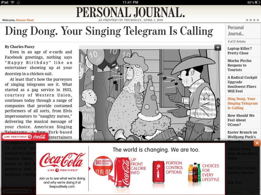 WSJ Coca-Cola Ad Expanded