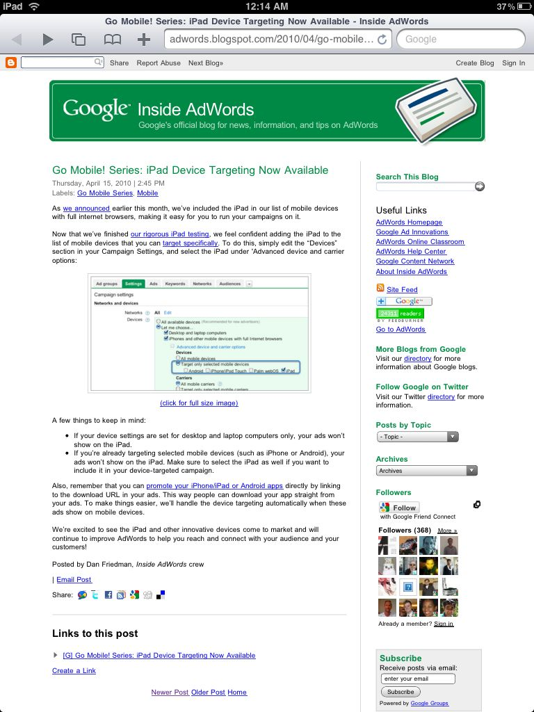 Google AdWords Instructions for iPad